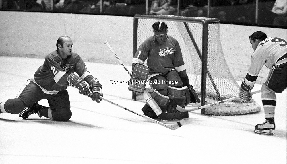 California Golden Seal Bill Hicke tries to get puck past RedWing goalie Roy Edwards and #2 Gary Bergman..(1971 photo/Ron Riesterer).