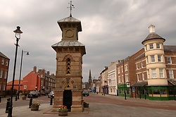 Tynemouth village showing recent restoration of clocktower and general upgrading of Front Street; UK