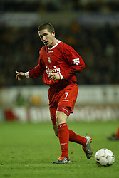 WOLVERHAMPTON, ENGLAND - Wednesday, January 21st, 2004: Liverpool's Harry Kewell in action against Wolverhampton Wanderers during the Premiership match at Molineux. (Pic by David Rawcliffe/Propaganda)