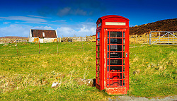 Red telephone kiosk by the side of the A855,  Isle of Skye, Scotland<br /> <br /> (c) Andrew Wilson | Edinburgh Elite media