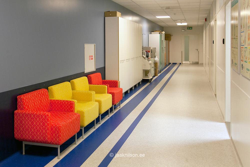 Hospital waiting area and corridor in Tartu university hospital.