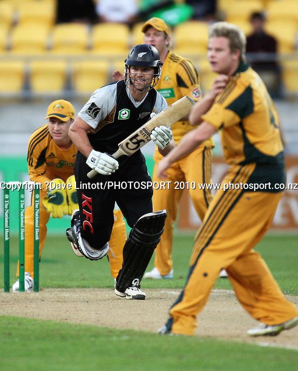 NZ's James Franklin takes a single.<br /> 1st Twenty20 cricket match - New Zealand v Australia at Westpac Stadium, Wellington. Friday, 26 February 2010. Photo: Dave Lintott/PHOTOSPORT