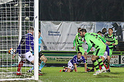 Forest Green Rovers Scott Laird(3) heads the ball scores a goal 2-2 during the The FA Cup match between Forest Green Rovers and Exeter City at the New Lawn, Forest Green, United Kingdom on 2 December 2017. Photo by Shane Healey.