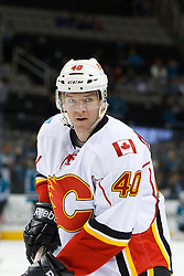 Feb 8, 2012; San Jose, CA, USA; Calgary Flames left wing Alex Tanguay (40) warms up before the game against the San Jose Sharks at HP Pavilion. Calgary defeated San Jose 4-3. Mandatory Credit: Jason O. Watson-US PRESSWIRE
