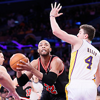 09 February 2014: Los Angeles Lakers power forward Ryan Kelly (4) defends on Chicago Bulls power forward Taj Gibson (22) during the Chicago Bulls 92-86 victory over the Los Angeles Lakers at the Staples Center, Los Angeles, California, USA.
