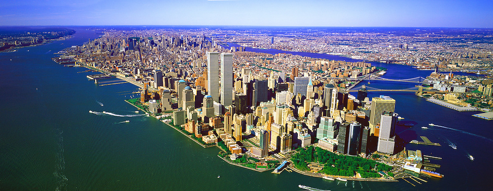 Historic Aerial View of Manhattan with Twin Towers from 1/2 Mile High (Aerial Lane)