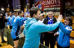 Uros Bregar, head coach of RK Krim Mercator celebrates after the handball match between RK Krim Mercator and ZRK Z'Dezele Celje in Last Round of Slovenian National Championship 2016/17, on April 18, 2017 in Arena Galjevica, Ljubljana, Slovenia. Photo by Vid Ponikvar / Sportida