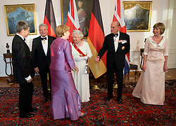 BERLIN-GERMANY- 24-JUNE-2015: Britain's  HM Queen Elizabeth II, accompanied by HRH The Duke of Edinburgh attends the State Banquet at the Bellevue Palace in Berlin at the start of her State Visit to Germany.<br /> The dinner was hosted by German President Joachim Gauck.<br /> Photograph by Ian Jones