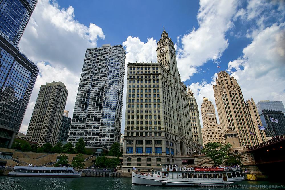 Chicago Riverwalk featuring Wrigley Building