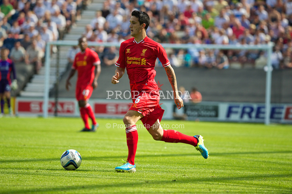 PRESTON, ENGLAND - Saturday, July 13, 2013: Liverpool's Luis Alberto in action against Preston North End during a preseason friendly match at Deepdale. (Pic by David Rawcliffe/Propaganda)