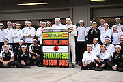 October 8, 2015: Russian GP 2015: Mclaren Honda team celebrate Fernando Alonso's 250th GP.