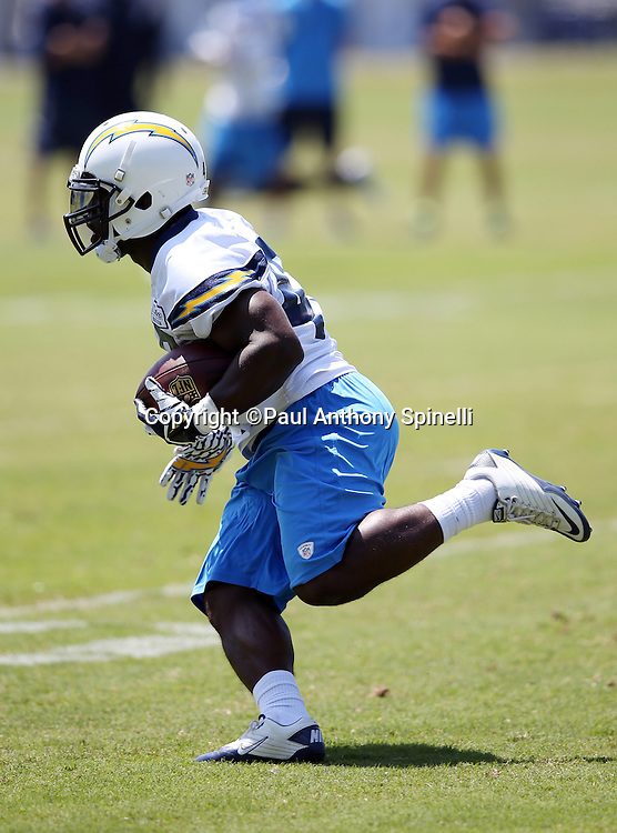 San Diego Chargers running back Branden Oliver (43) runs the ball during the San Diego Chargers Spring 2015 NFL minicamp practice on Wednesday, June 17, 2015 in San Diego. (©Paul Anthony Spinelli)