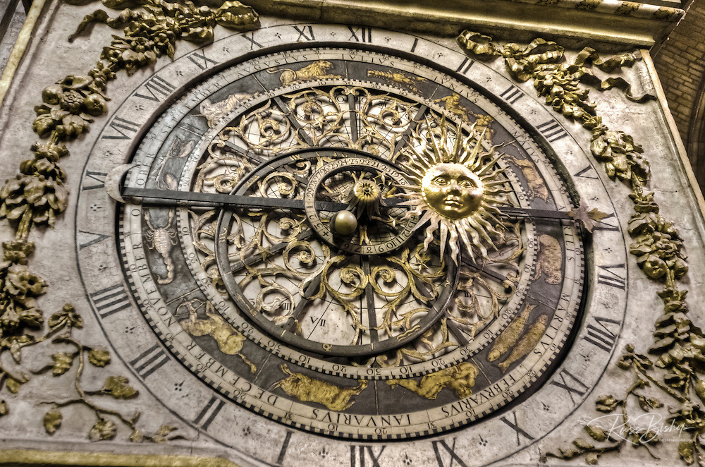 The astronomical clock in Saint Jean Cathedral, old town Vieux Lyon, France (UNESCO World Heritage Site)