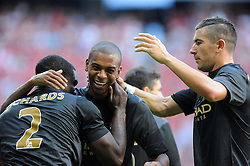 31.07.2013, Allianz Arena, Muenchen, Audi Cup 2013, Manchester City vs AC Milan, im Bild, Freude bei Mancity nach einem Tor von Micah RICHARDS (Manchester City), linjks, Mitte FERNANDINHO (Manchester City), rechts Aleksandar KOLAROV (Manchester City) // during the Audi Cup 2013 match between Manchester City and AC Milan at the Allianz Arena, Munich, Germany on 2013/07/31. EXPA Pictures © 2013, PhotoCredit: EXPA/ Eibner/ Wolfgang Stuetzle<br /> <br /> ***** ATTENTION - OUT OF GER *****