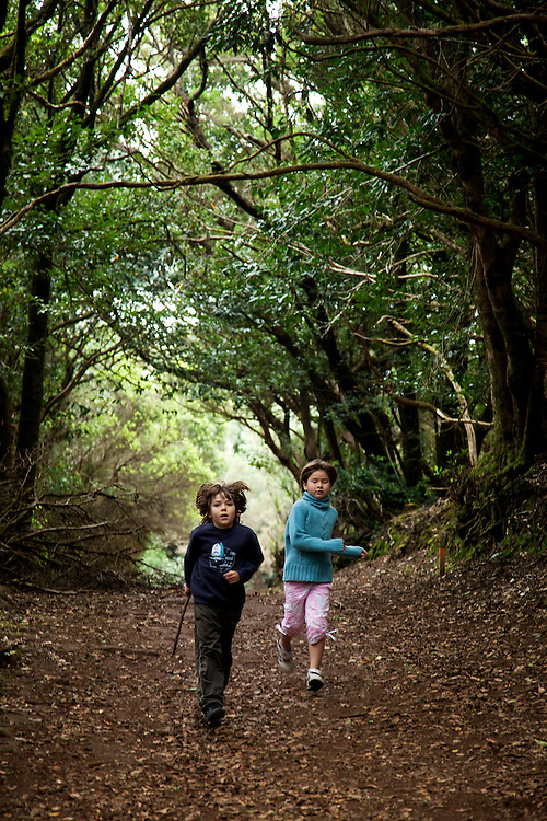 Kids walking in ANAGA MOUNTAINS, Tenerife.
