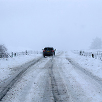 Storm Doris hits Perthshire…23.02.17<br />Whiteout conditions on the A823 near Gleneagles in Perthshire as Storm Doris brings snow<br />Picture by Graeme Hart.<br />Copyright Perthshire Picture Agency<br />Tel: 01738 623350  Mobile: 07990 594431