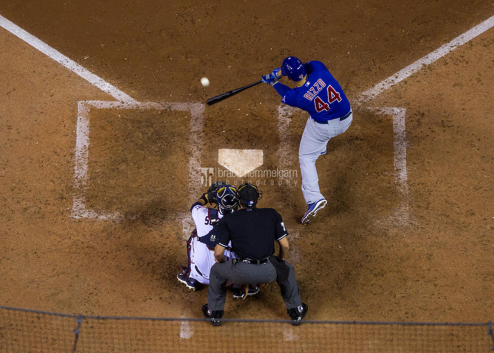 MINNEAPOLIS, MN- JUNE 19: Anthony Rizzo #44 of the Chicago Cubs bats against the Chicago Cubs on June 19, 2015 at Target Field in Minneapolis, Minnesota. The Twins defeated the Cubs 7-2. (Photo by Brace Hemmelgarn) *** Local Caption *** Anthony Rizzo