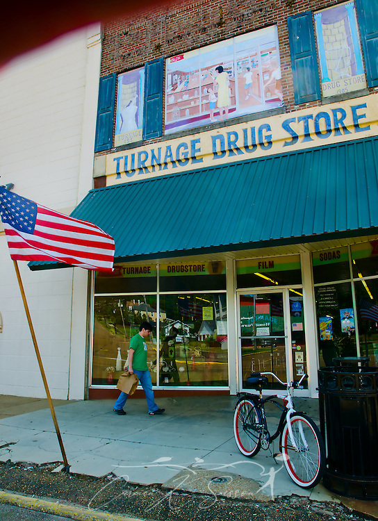 Exterior shot of Turnage Drug Store in Water Valley, Mississippi. (Photo by Carmen K. Sisson/Cloudybright)