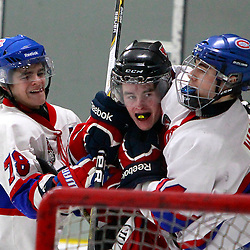 TORONTO, ON - Feb 16 : Ontario Junior Hockey League Game Action between the Milton Ice Hawks and the Toronto Jr. Canadiens,<br /> (Photo by Brian Watts / OJHL Images)