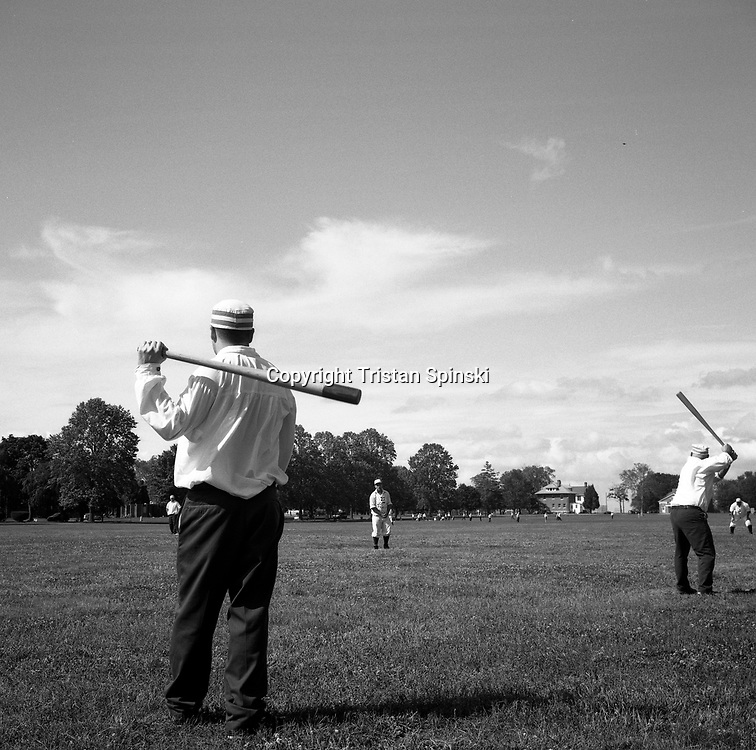 "Members of an ""old-time"" baseball league enjoy an afternoon of baseball in Delaware City, Delaware."