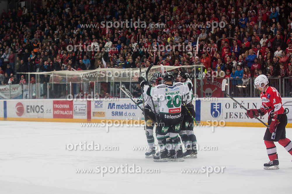 Players of HDD Olimpija during ice hockey match between HDD SIJ Acroni Jesenice and HDD Telemach Olimpija in 4th leg of Finals of Slovenian National Championship 2014/2015, on April 15, 2015 in Podmezakla, Jesenice, Slovenia. Photo by Grega Valancic / Sportida
