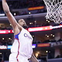 08 January 2014: Los Angeles Clippers center DeAndre Jordan (6) goes for the dunk during the Los Angeles Clippers 111-105 victory over the Boston Celtics at the Staples Center, Los Angeles, California, USA.