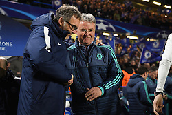 09.03.2016, Stamford Bridge, London, ENG, UEFA CL, FC Chelsea vs Paris Saint Germain, Achtelfinale, Rueckspiel, im Bild blanc laurent, hiddink guus // during the UEFA Champions League Round of 16, 2nd Leg match between FC Chelsea vs Paris Saint Germain at the Stamford Bridge in London, Great Britain on 2016/03/09. EXPA Pictures © 2016, PhotoCredit: EXPA/ Pressesports/ LAHALLE PIERRE<br /> <br /> *****ATTENTION - for AUT, SLO, CRO, SRB, BIH, MAZ, POL only*****