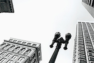 Low angle view of building and lamppost in downtown San Francisco. 1989.