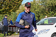 AFC Wimbledon attacker Marcus Forss (15) arriving for the game during the EFL Sky Bet League 1 match between AFC Wimbledon and Portsmouth at the Cherry Red Records Stadium, Kingston, England on 19 October 2019.