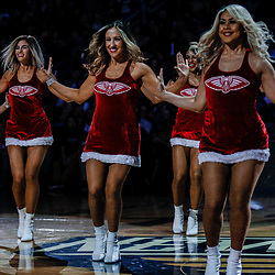 Dec 13, 2017; New Orleans, LA, USA; New Orleans Pelicans dance team performs a holiday routine during the second half against the Milwaukee Bucks at the Smoothie King Center. The Pelicans defeated the Bucks 115-108. Mandatory Credit: Derick E. Hingle-USA TODAY Sports