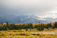 67545-09608 Fall color and Grand Teton Mountain Range from Blacktail Falls Overlook, Grand Teton National Park, WY