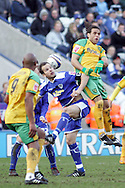 Leicester - Saturday, February 16th, 2008: Stephen Clemence (L) of Leicester City and Darel Russell (R) of Norwich City during the Coca Cola Champrionship match at the Walkers Stadium, Leicester. (Pic by Mark Chapman/Focus Images)