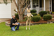 Wounded warrior Nick Bailley with his dog Abel on September 23, 2014 in Summerville, South Carolina. Local third-grade student Rachel Mennett led a successful fundraising effort using her lemonade stand to pay for training Abel to become a service dog for Nick.