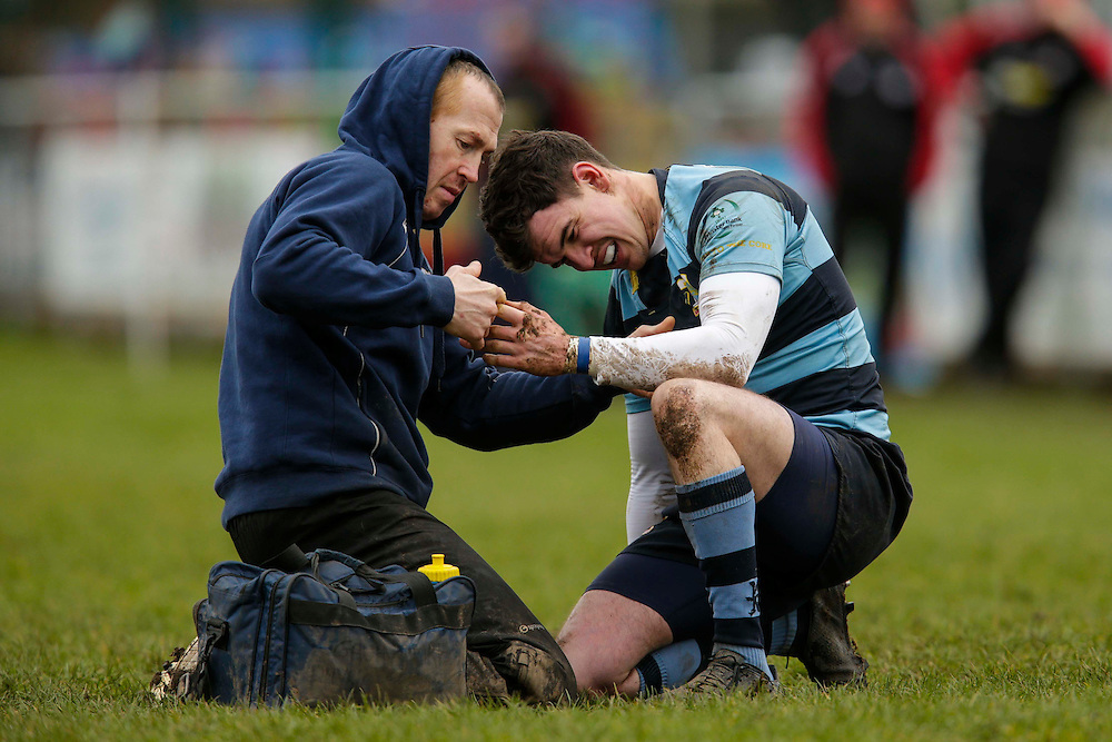 AIL Division 2c Rugby at Old Balreask, Navan 20th February 2016.<br /> Nacan RC vs Tullamore RC<br /> Navan Physio, Gavin Yore tends to James Ring during the AIL Division 2C game at Navan <br /> Photo: David Mullen /www.cyberimages.net / 2016