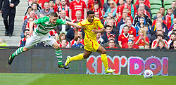 DUBLIN, REPUBLIC OF IRELAND - Wednesday, May 14, 2014: Liverpool's Jordan Ibe on his way to creating the opening goal against Shamrock Rovers during a postseason friendly match at Lansdowne Road. (Pic by David Rawcliffe/Propaganda)
