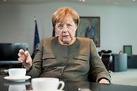 13 SEP 2017, BERLIN/GERMANY:<br /> Angela Merkel, CDU, Bundeskanzlerin, waehrend einem Interview, in Ihrem Buero, Bundeskanzlerin<br /> IMAGE: 20170917-01-005<br /> KEYWORDS: B&uuml;ro
