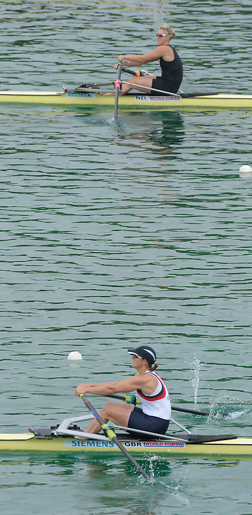 Munich GERMANY,  GBR W1X, Kathrine GRAINGER, qualifies, for Sundays final of the women's single sculls at the 2nd Round FISA World cup on the Olympic Rowing Course Munich, Saturday  20/06/2009, [Mandatory Credit. Peter Spurrier/Intersport Images]