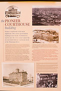 Interpretive sign in the Pioneer Courthouse (National Historic Landmark), Portland, Oregon