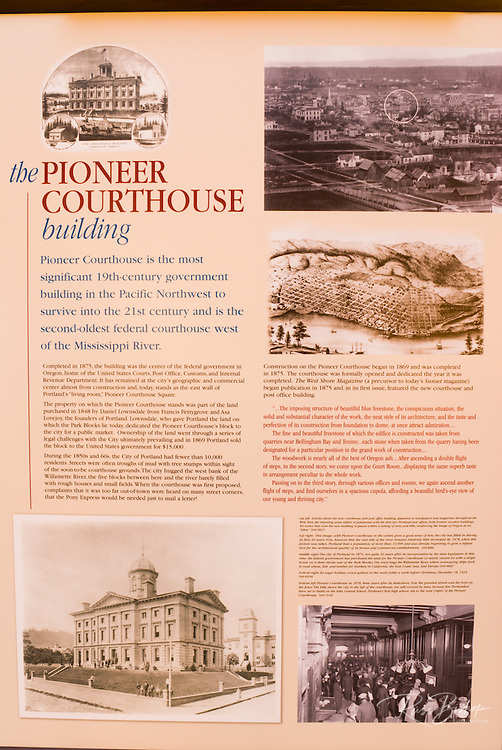 Interpretive sign in the Pioneer Courthouse (National Historic Landmark), Portland, Oregon