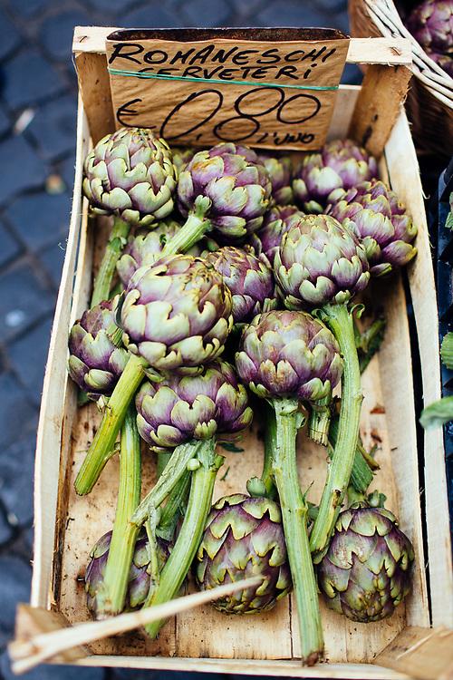 Artichokes at farmers market in Rome, Italy