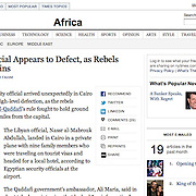 "Tearsheet of ""Libya War"" (photo only) published in New York Times"