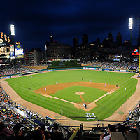 Night falls on Comerica Park during a Tiger's baseball game in Detroit, Michigan on June 15, 2010.