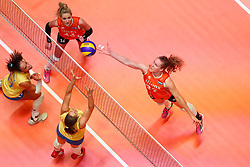 20180531 NED: Volleyball Nations League Netherlands - Brazil, Apeldoorn<br />Laura Dijkema (14) of The Netherlands, Nicole Koolhaas (22) of The Netherlands <br />©2018-FotoHoogendoorn.nl
