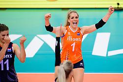 12.06.2018, Porsche Arena, Stuttgart<br /> Volleyball, Volleyball Nations League, Türkei / Tuerkei vs. Niederlande<br /> <br /> Jubel Kirsten Knip (#1 NED)<br /> <br /> Foto: Conny Kurth / www.kurth-media.de