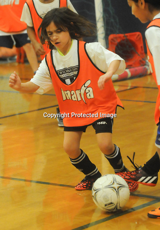 Gabby Mediratta controls the ball during the Wilmington Hammerheads' Youth Outreach Indoor Friendly Tournament Sunday January 11, 2015 at the MLK Center in Wilmington, N.C. (Jason A. Frizzelle)