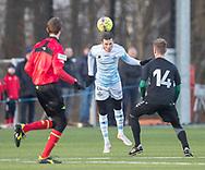 FODBOLD: Pascal Gregor (FC Helsingør) under træningskampen mellem FC Helsingør og AB den 19. januar 2019 på Snekkersten Idrætscenter. Foto: Claus Birch