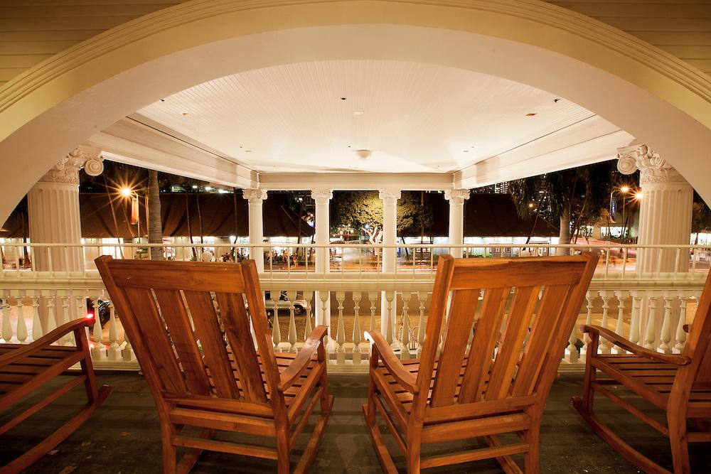 Lounge chairs at the Moana Hotel in Waikiki Beach, Hawaii