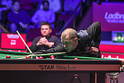 Barry Hawkins takes a shot during the Ladbrokes World Grand Prix at Preston Guildhall, Preston, United Kingdom on 12 February 2017. Photo by Pete Burns.