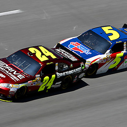 April 17, 2011; Talladega, AL, USA; NASCAR Sprint Cup Series driver Mark Martin (5) drafts Jeff Gordon (24) during the Aarons 499 at Talladega Superspeedway.   Mandatory Credit: Derick E. Hingle