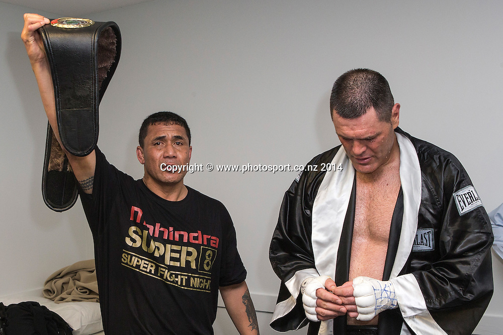Kali `Mean Hands` Meehan (R)  in the dressing room after defeating Shane `The Mountain Warrior` Cameron in the  Mahindra Super 8 Fight Night, North Shore Events Centre, Auckland, New Zealand, Sunday, November 23, 2014. Photo: David Rowland/Photosport